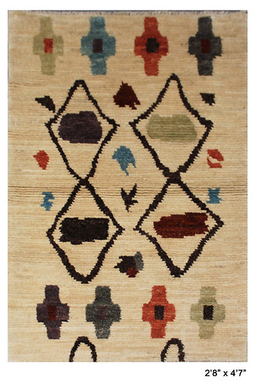 "Hand Knotted Moroccan Rug  -2'8"" x 4'7"""