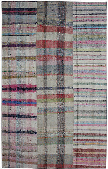 """Hand Knotted Antique Patchwork Rug - 6'6"""" x 10'0"""""""