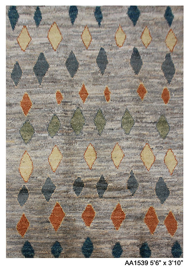 "Hand Knotted Natural Wool Modern Moroccan. 3'10"" x 5'6'"