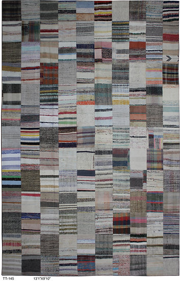 """Hand Knotted Antique Patchwork Rug - 9'10"""" x 13'1"""""""