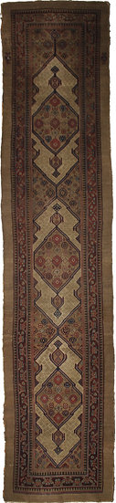 "Hand Knotted Antique Sarab Runner - 17'4"" X 3'7"""