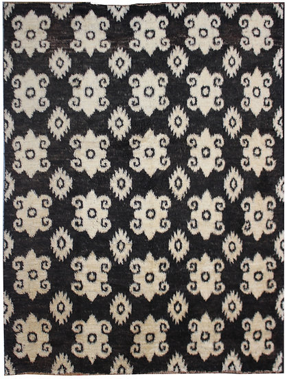 "Hand Knotted Ikat Rug - 8'3"" x 9'2"""