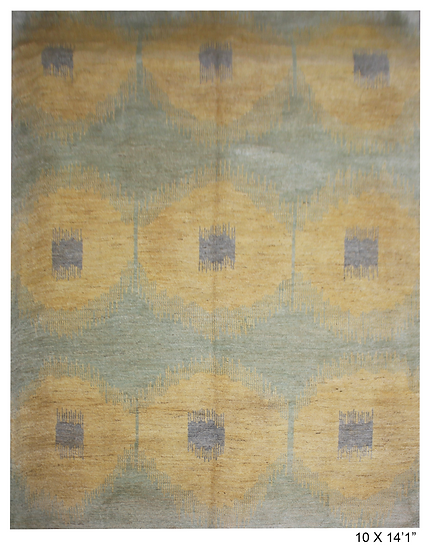 "Hand Knotted Ikat Rug - 10'0"" X 14'1"""