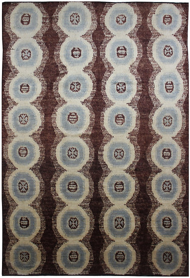 "Hand Knotted Ikat Rug - 8'10"" X 12'3"""