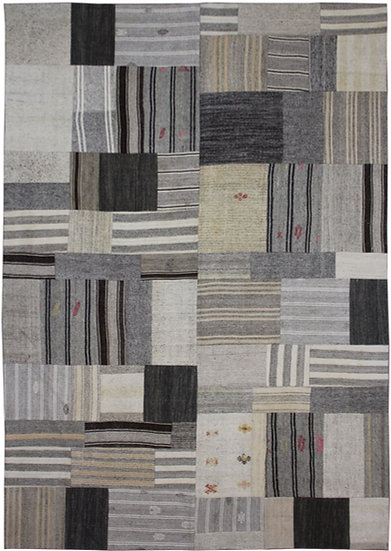 """Hand Knotted Antique Patchwork Kilim - 8'10"""" x 12'1"""""""