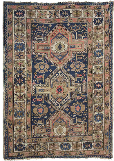 "Hand Knotted Antique Kazak Rug - 4'0"" x 5'4"""