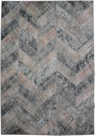 "Hand Knotted Antique Patchwork Rug - 8'0"" x 10'2"""