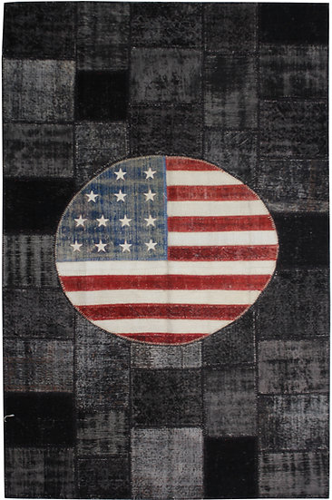 """Hand Knotted Antique Patchwork Flag Rug - 6'6"""" x 10'0"""""""