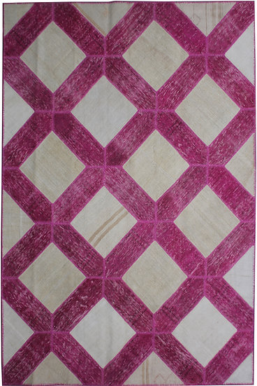 """Hand Knotted Antique Patchwork Rug - 7'2"""" x 10'3"""""""