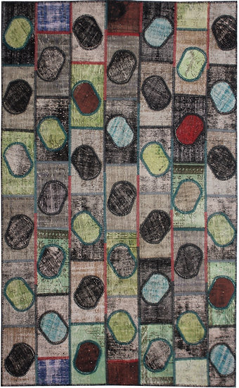 """Hand Knotted Antique Patchwork Rug - 6'2"""" x 9'9"""""""