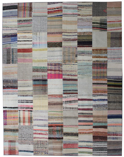 "Hand Knotted Antique Patchwork Rug - 8'1"" x 9'11"""