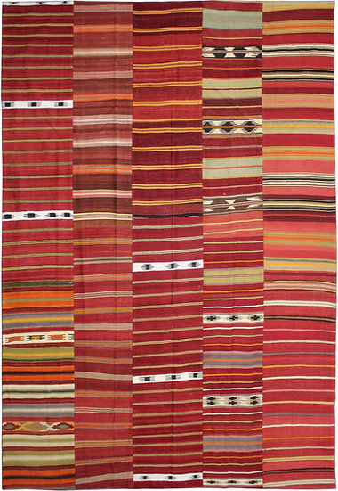 """Hand Knotted Antique Patchwork Kilim - 9'9"""" x 13'0"""""""