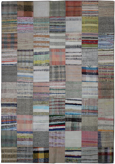 """Hand Knotted Antique Patchwork Rug - 6'11"""" x 9'2"""""""