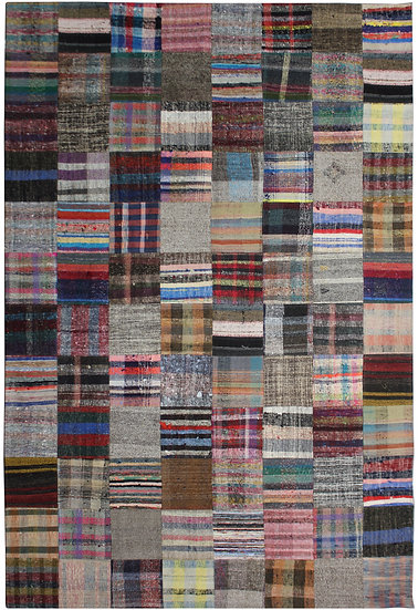 """Hand Knotted Antique Patchwork Rug 8'1"""" x 12'4"""""""