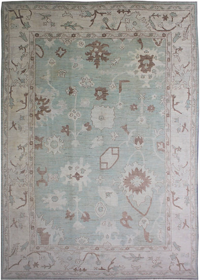 "Hand Knotted Oushak Rug - 9'7"" x 13'7"""