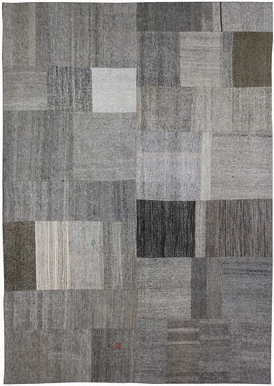 "Hand Knotted Antique Patchwork Kilim - 8'0"" x 11'0"""