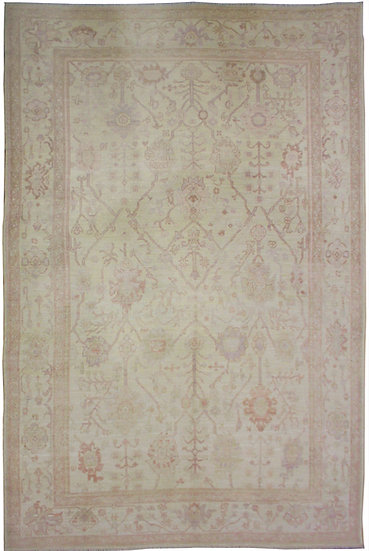 Hand Knotted Fine Oushak Rug - 9'2' x 12'5""