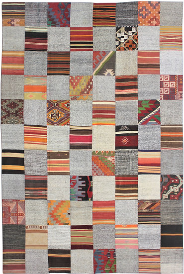 "Hand Knotted Antique Patchwork Kilim - 7'8"" x 10'10"""