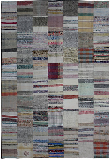 "Hand Knotted Antique Patchwork Rug - 6'10"" x 9'8"""