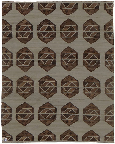 """Hand-Knotted Natural Modern Kilim  - 9'7"""" x 8'1"""""""