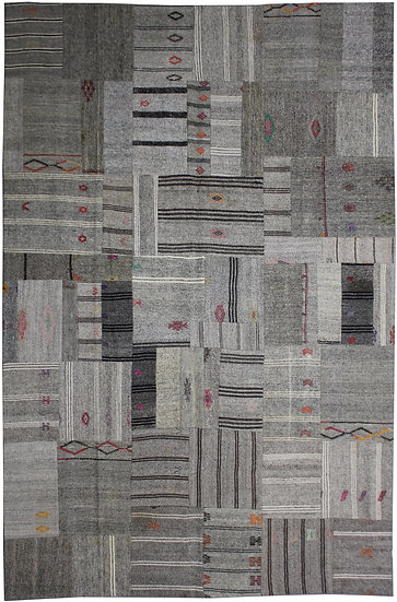 "Hand Knotted Antique Patchwork Kilim - 8'5"" x 12'3"""