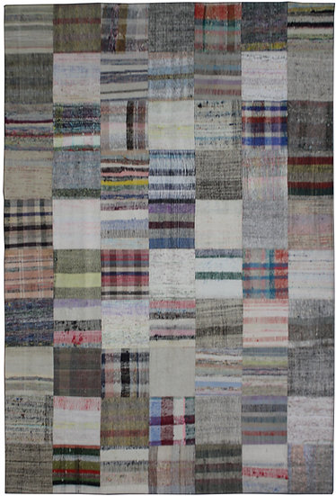 """Hand Knotted Antique Patchwork Rug - 6'10"""" x 9'11"""""""