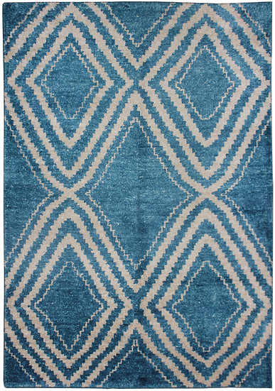 "Hand knotted environmentally friendly Bamboo and silk rug - 5'0"" x 7'0"""
