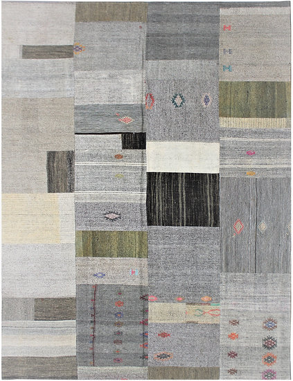 "Hand Knotted Antique Patchwork Kilim - 7'10"" x 9'9"""