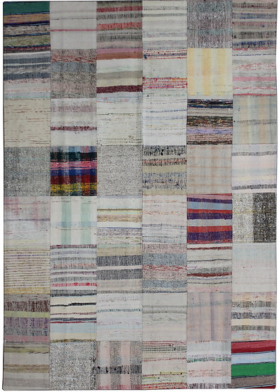 """Hand Knotted Antique Patchwork Rug - 7'9"""" x 5'7"""""""