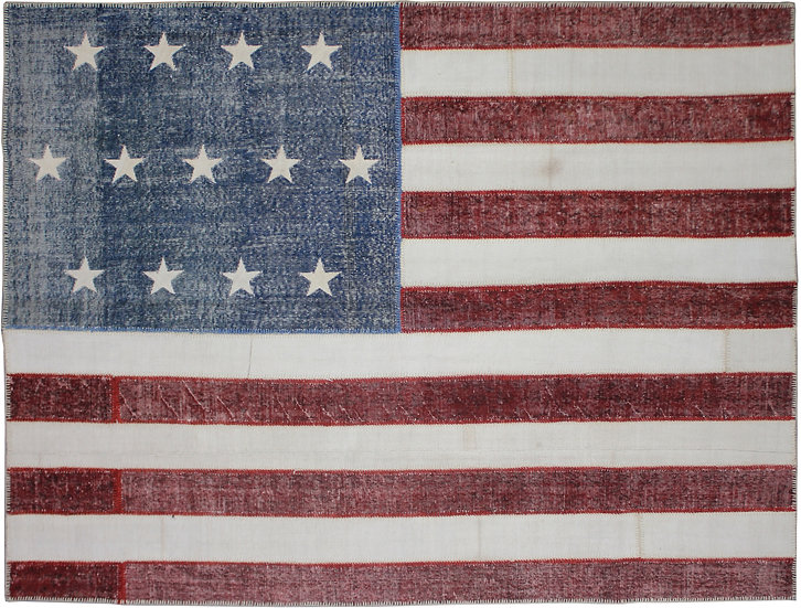 """Hand Knotted Antique Patchwork Flag Rug - 7'9"""" x 10'0"""""""