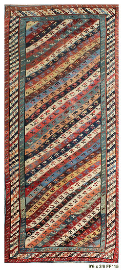 Antique 1880's Caucasian Rug 9'6 x 3'6 - Handknotted