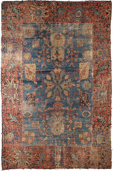 """Hand Knotted Fragment Sultan Abad Antique Rug - 7'9"""" X 5'10"""