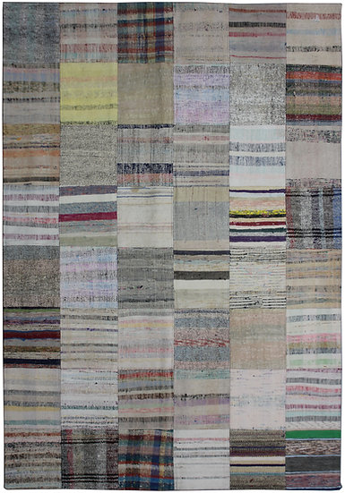 "Hand Knotted Antique Patchwork Rug - 5'6"" x 7'9"""