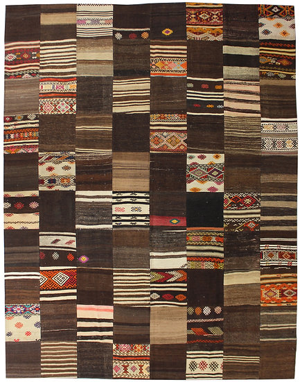 "Hand Knotted Antique Patchwork Kilim - 5'7"" x 7'9'"