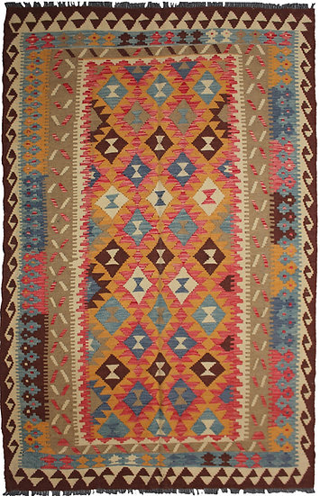 """Hand-Knotted Traditional Kilim - 5'4"""" x 8'4"""""""