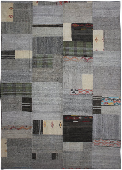 """Hand Knotted Antique Patchwork Kilim - 8'9"""" x 11'3"""""""