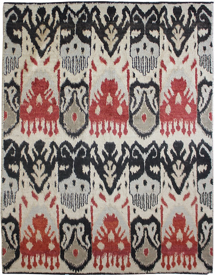 """Hand Knotted Ikat Rug - 8'6"""" x 10'4"""""""