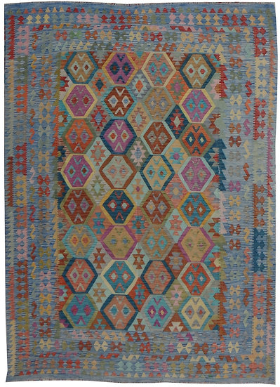 "Hand Knotted Natural Wool Maimana Kilim. 8'3"" x 11'1"""