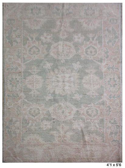 """Hand Knotted Fine Oushak Rug - 4'1"""" X 5'6"""""""