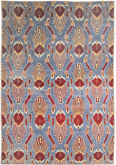 "Hand Knotted Ikat Rug - 10'2"" X 13'7"""