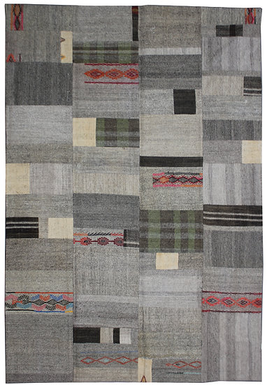 "Hand Knotted Antique Patchwork Kilim - 8'8"" x 11'4"""