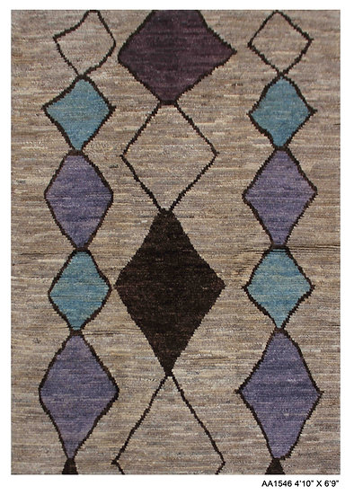"""Hand Knotted Modern Moroccan Rug 4'10' x 6'9"""""""