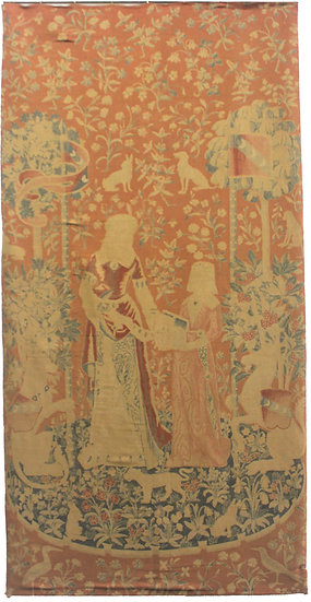 """Handwoven Wool Antique French Wall Hanging Tapestry Pair. 4'3"""" X 8'7"""""""