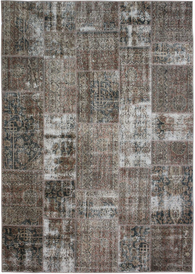 """Hand Knotted Antique Patchwork Rug - 7'5"""" x 9'9"""""""