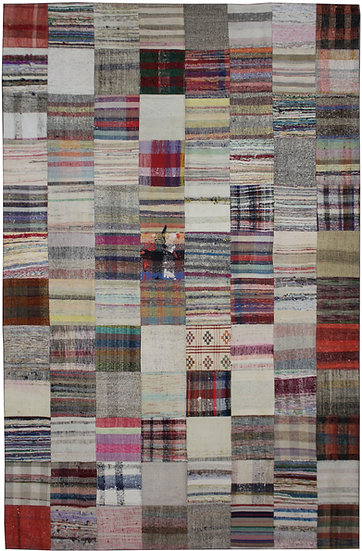 "Hand Knotted Antique Patchwork Rug - 7'9"" x 11'9"""