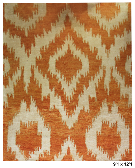 "Hand Knotted Ikat Rug - 9'1"" x 12'1"""
