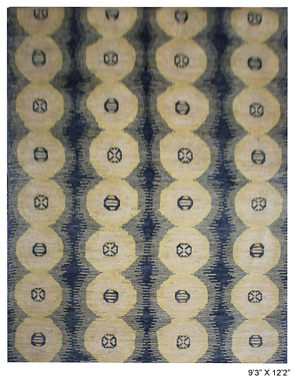 """Hand Knotted Ikat Rug - 9'3"""" x 12'1"""""""