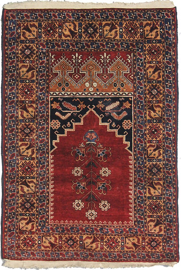 "Hand Knotted Fine Silk Rug - 3′3"" × 4′6″"