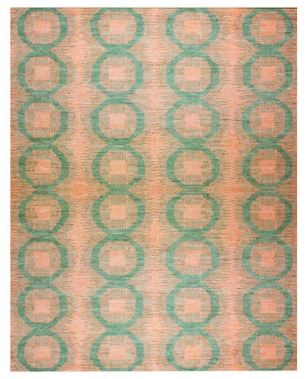 "Hand Knotted Natural wool Ikat Rug  9'2"" x 12'2"""