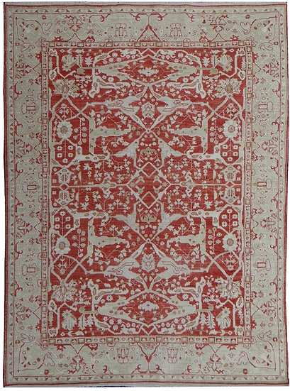 "Hand Knotted Fine Oushak Rug  - 9'6"" X 7'11"""